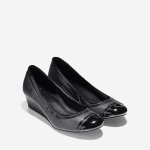 Cole Haan Elsie Leather and Patent Cap toe wedge